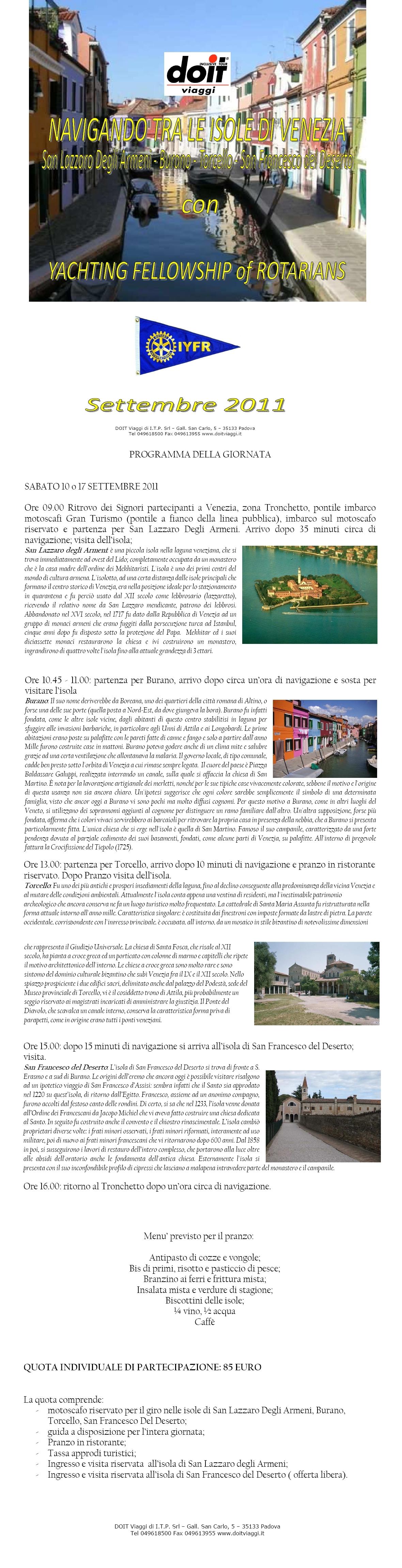 Calendario Eventi Settembre 2011